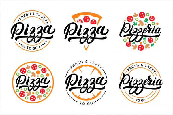 6 Pizza Lettering Logo Template