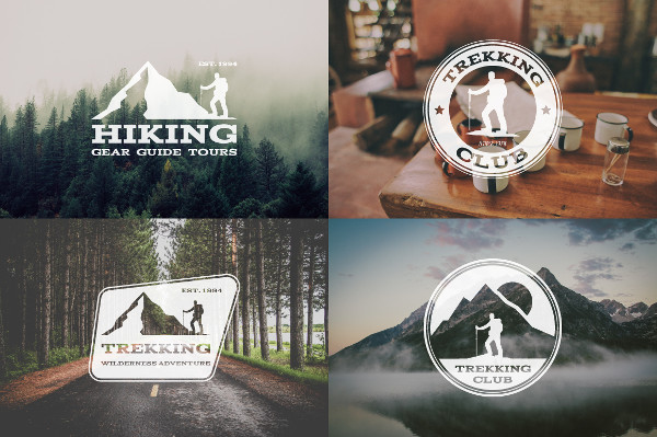 6 Trekking Adventure Badges & Logos