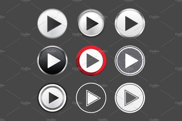 Abstract Set of Different Play Buttons