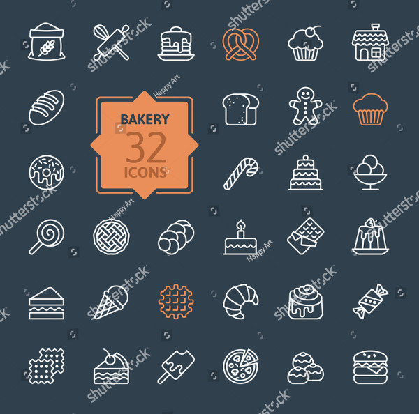 Outline Icon Collection of Bakery