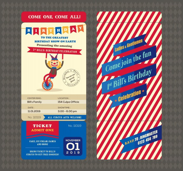 Birthday Card with Boarding Pass Style Template Free