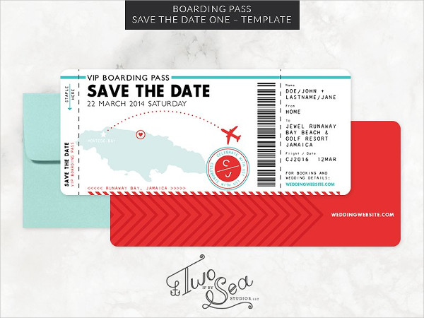 Boarding Pass Save the Date Template