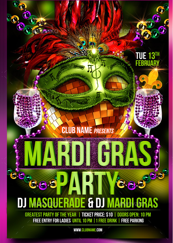 27  mardi gras party flyer templates