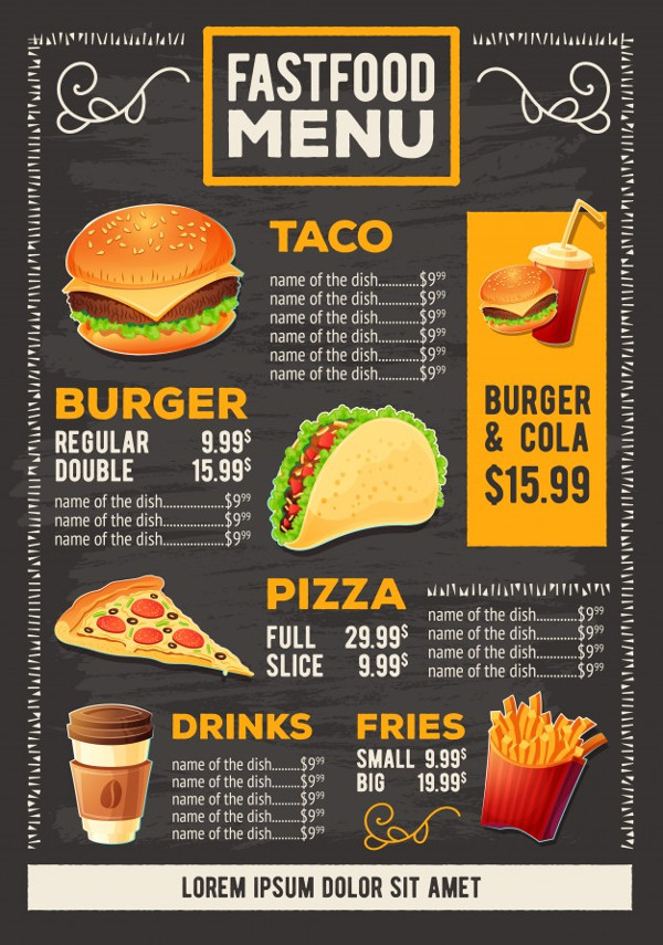 Cartoon Fast Food Design Poster Free