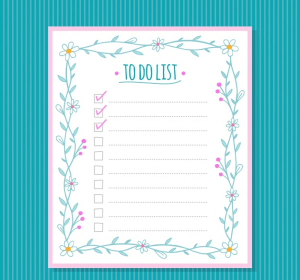 Checklist Template with Floral Decoration Free