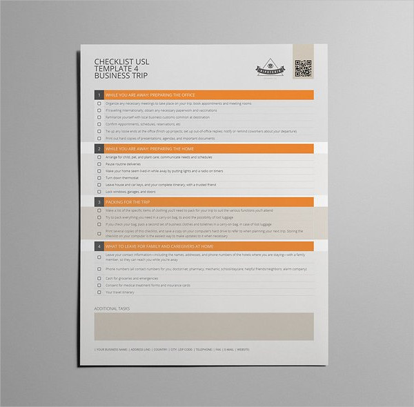 Checklist Templates for Business Trip