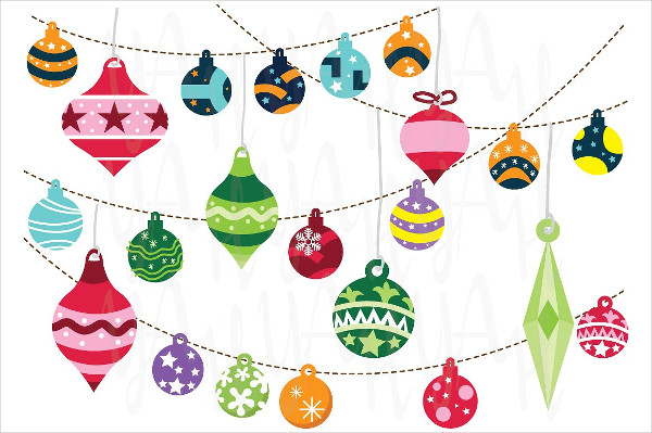 Set of Christmas Ornaments Designs for Invitations
