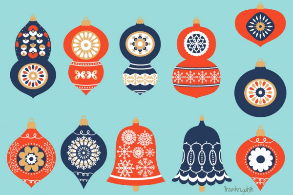 Christmas Ornaments Clip Art Set