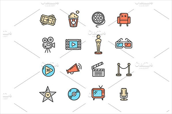 Cinema Colorful Outline Icon Set