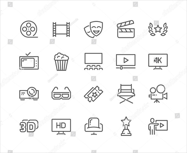 Cinema Related Vector Line Icons