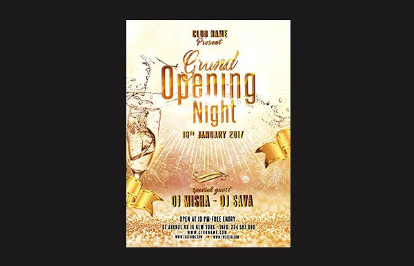 Classic Grand Opening Night Flyer Template
