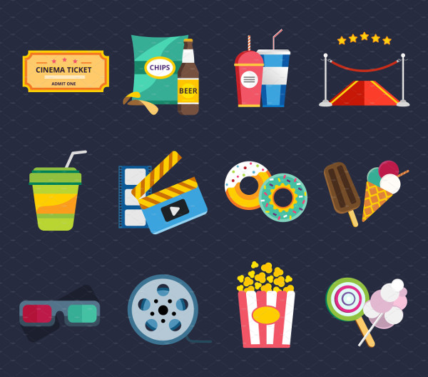 Clean Movie Vector Icons Set