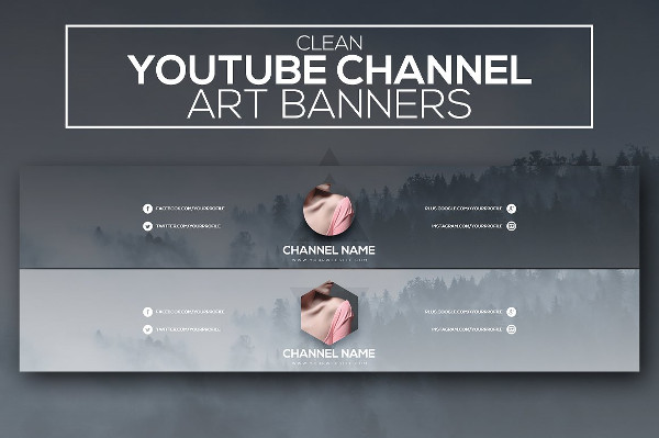 Clean Youtube Channel Art Banners