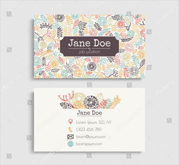 Colorful Business Card With Block Print