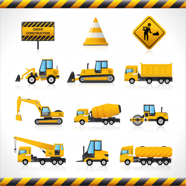 Construction Machines Icons Free Vector