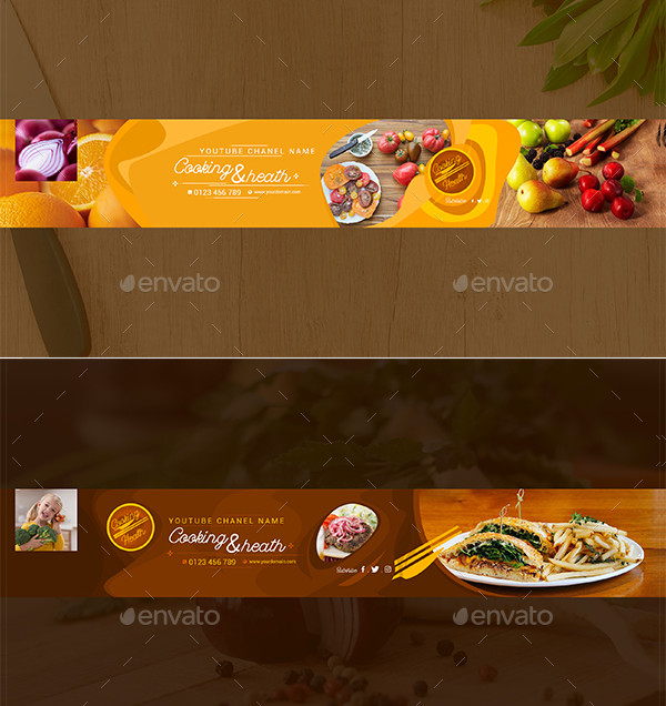 5 Cooking & Health Chanel Youtube Banners Template