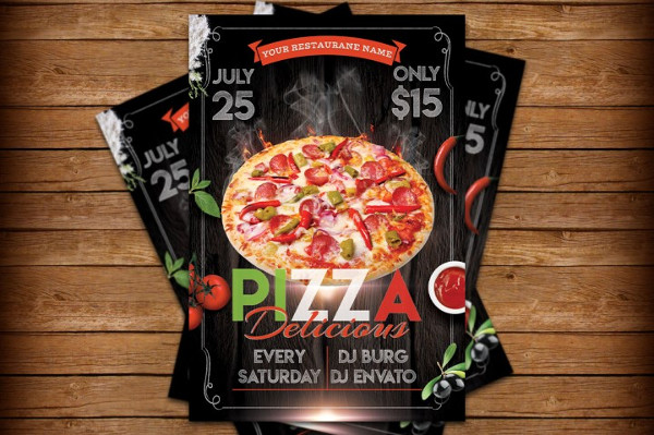 Customizable Pizza Flyer and Poster Design