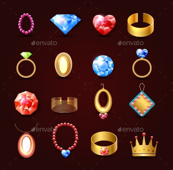 Fully Editable Jewelry Icons Set
