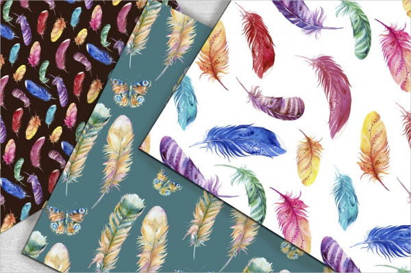 Feathers watercolor seamless pattern