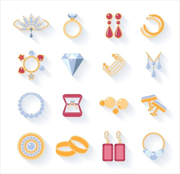 Flat Icons of Jewelry