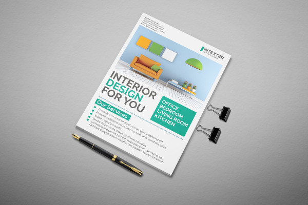 Flat Interior Design Flyer Template