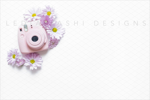 Floral Style Camera Mockup