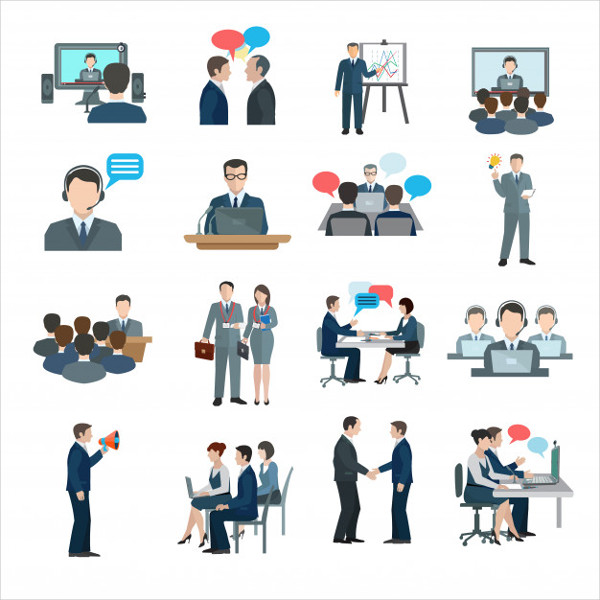 Free Conference Icons in Cartoon Style
