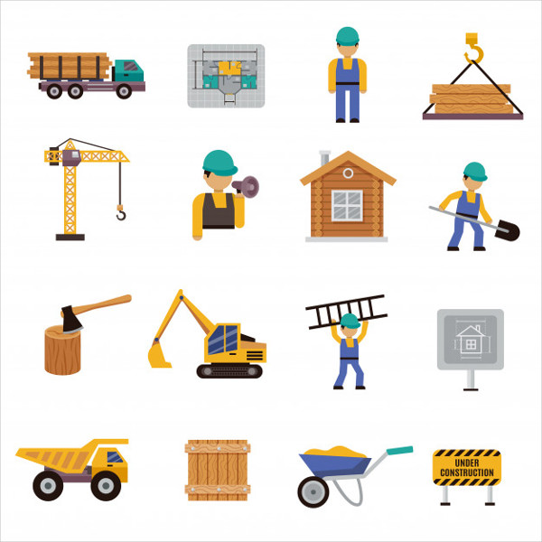 Free Download Flat Construction Icons Pack