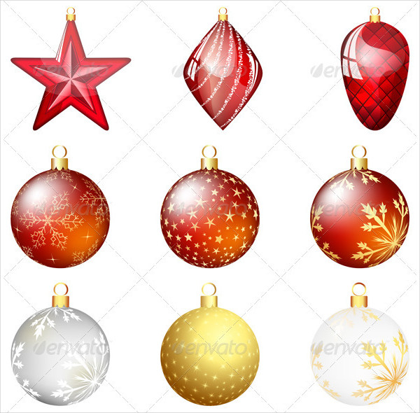 Fully Editable Christmas Ornaments Set