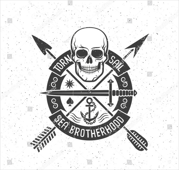 Hipster Retro Logo with Pirate Skull