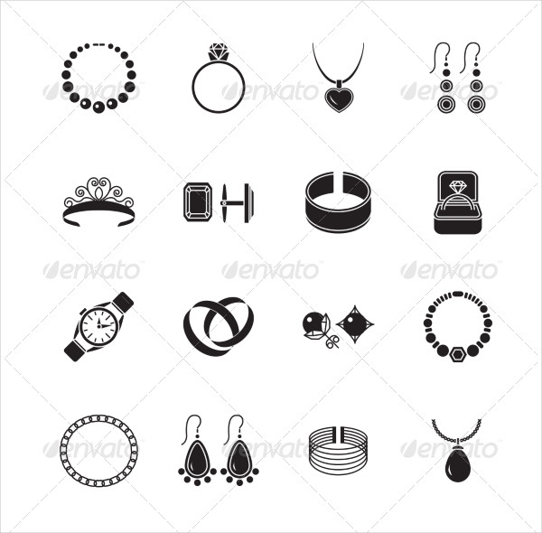 Jewelry Black Icons Set