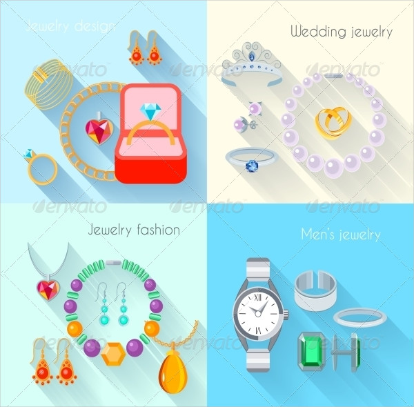 Jewelry Flat Decorative Icons