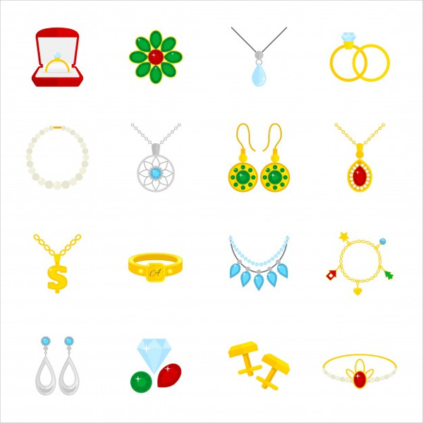 Jewelry Flat Icons Set Free Vector