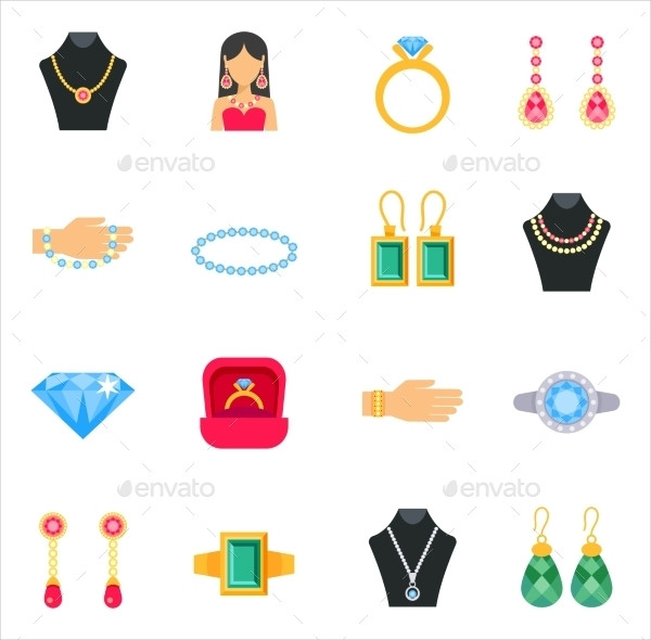 Jewelry Icons with Earrings Rings & Bracelets