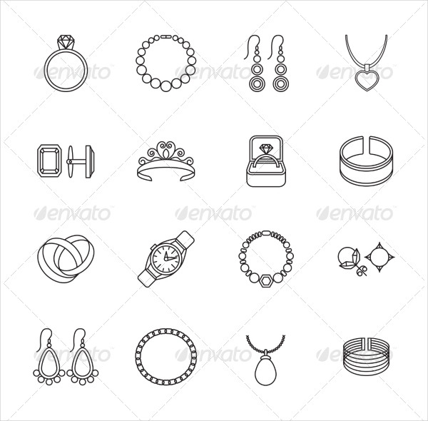 Jewelry Outline Icons Pack