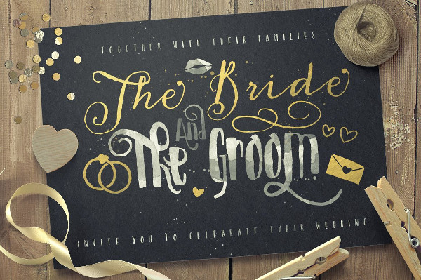 Just Married Wedding Lettering Font