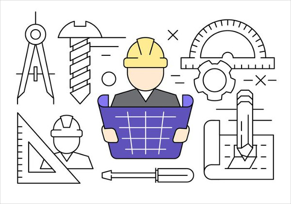Linear Construction Engineering Vector Icons Free