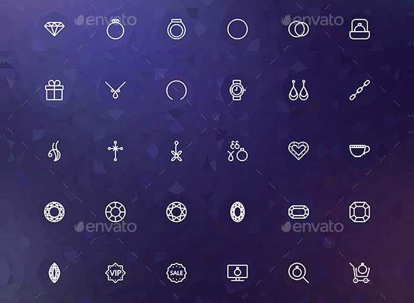 Luxury Jewelry Line Icons