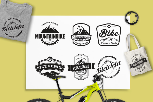 Mountain Bike Retro Logo Badges
