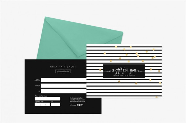 Nina Gold Gift Certificate Template