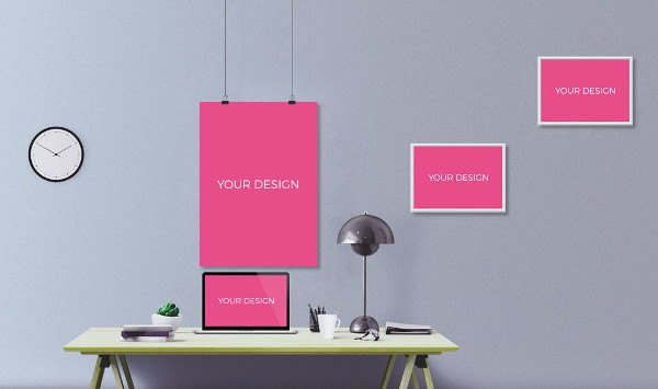 Office Wall Art Frame Mockup