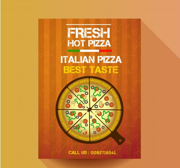 Hot Pizza Poster Template Free Vector