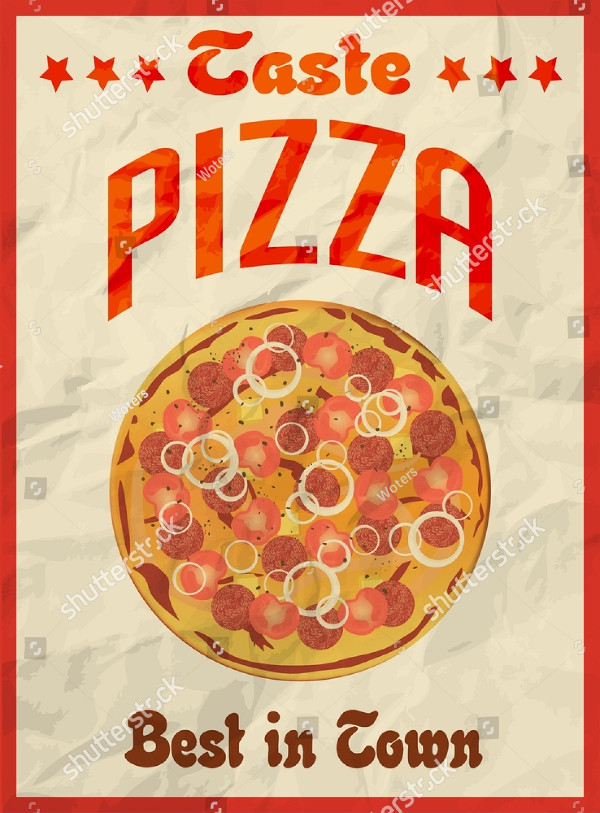 Pizza Vintage Retro Poster on Crumpled Paper