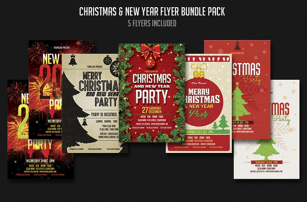 Printable Holiday Party Flyers Bundle