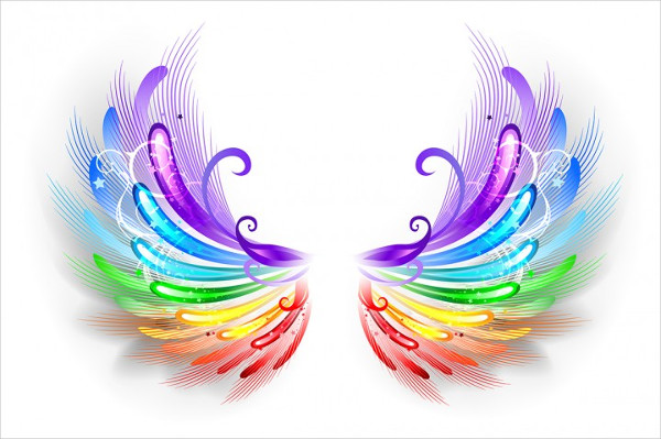 Rainbow Wings On a White Background