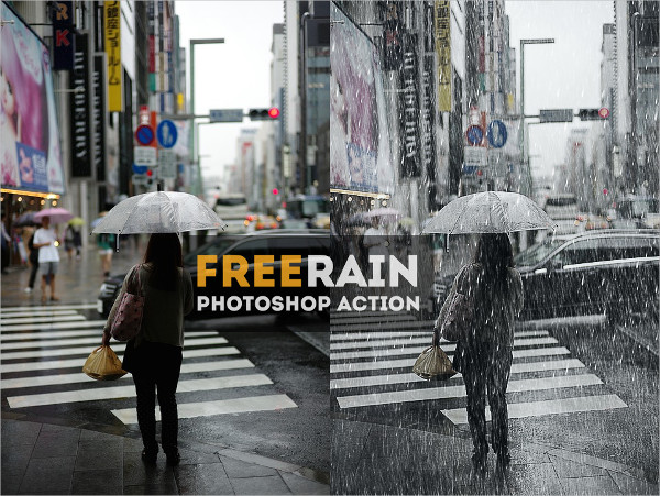 Realistic Falling Rain Photoshop Action Free