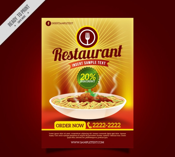 Restaurant Promotion Flyer Template Free Vector