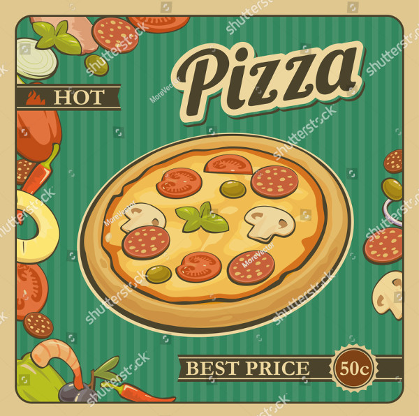 Retro Vintage Poster Design of Pizza