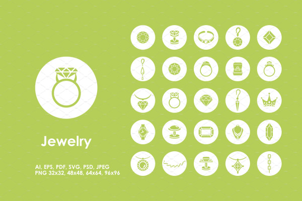 Set of Jewelry Simple Web Icons