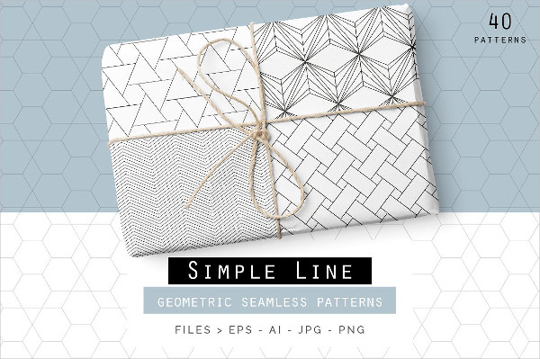 Simple Line Geometric Seamless Patterns